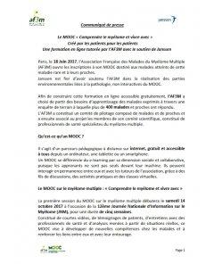"""CP MOOC """"Comprendre le myélome et vivre avec"""""""