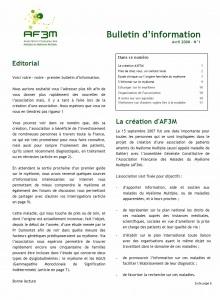 Bulletin AF3M n°1 avril 2008